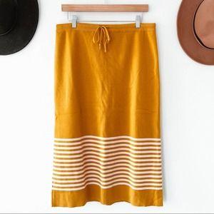 ROOLEE   Mustard Striped Knit Midi Skirt Sz XXL